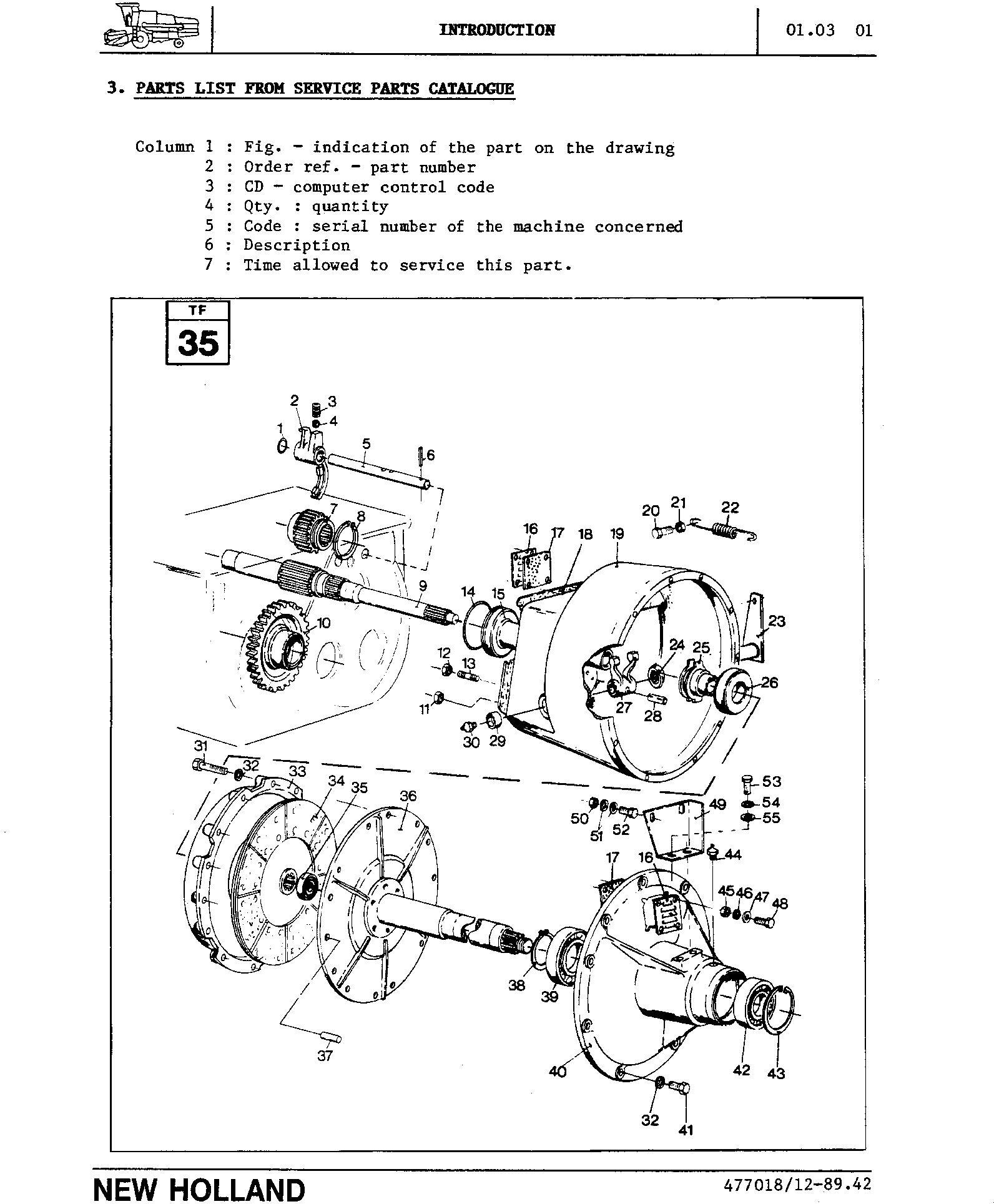 New Holland TX36, TX66, TX68 Combines (for TX66&TX68 Mechanical Info only) Service Manual - 1