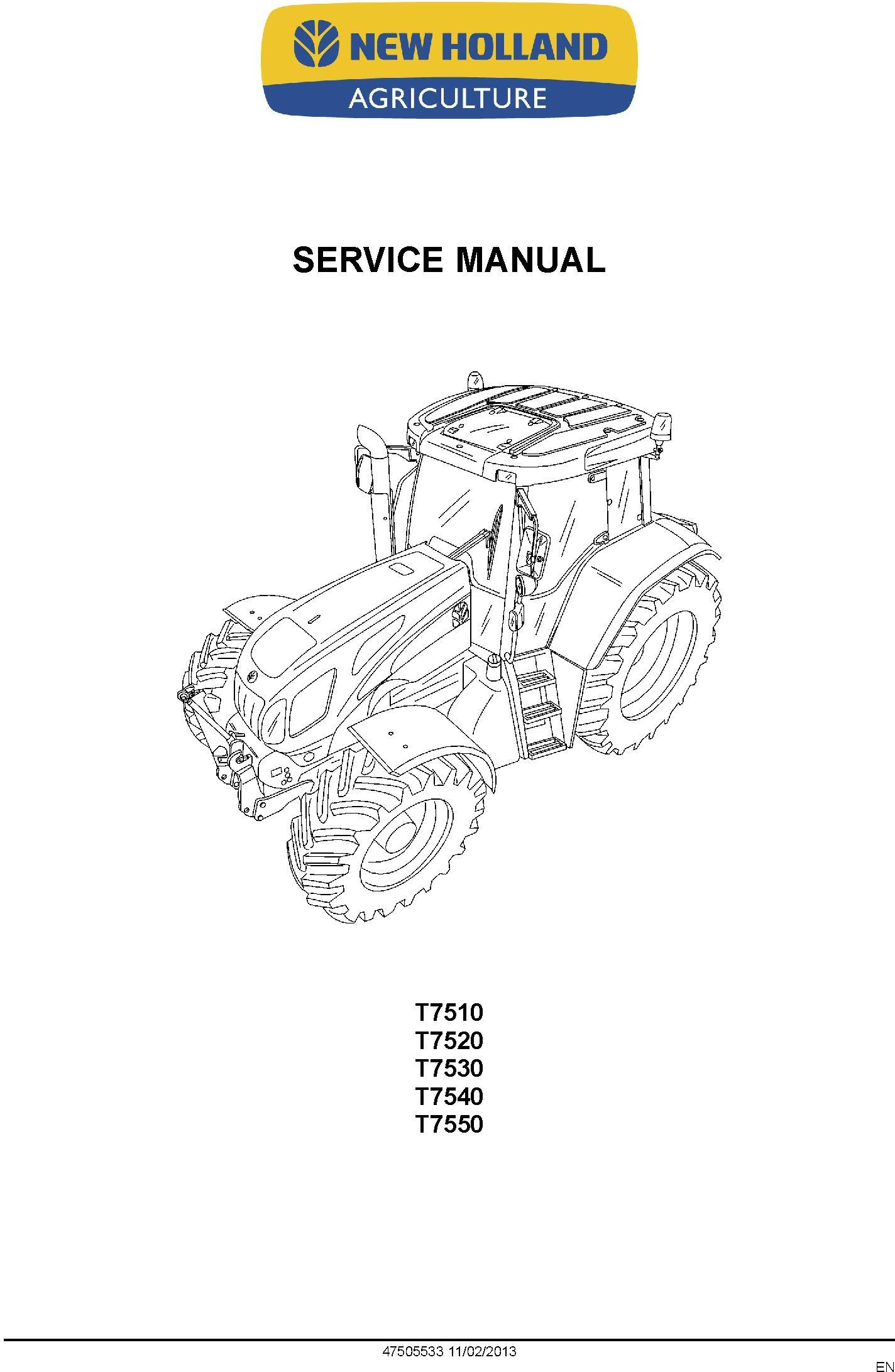 New Holland T7510, T7520, T7530, T7540, T7550 Tractor Service Manual - 1