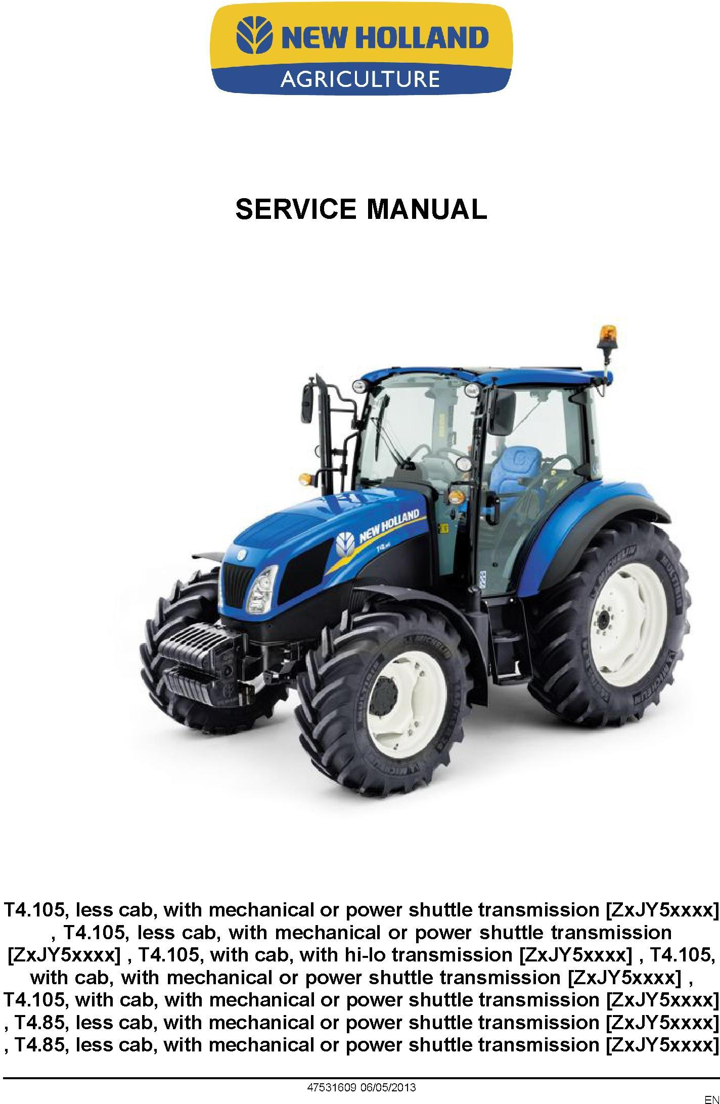 New Holland T4.85, T4.95, T4.105 Tractor Service Manual - 1