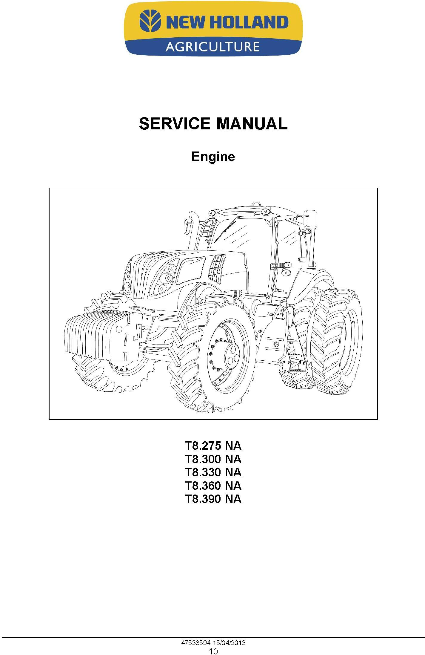 New Holland T8.275, T8.300, T8.330, T8.360, T8.390 Tractor w. Powershift Transmission Service Manual - 1