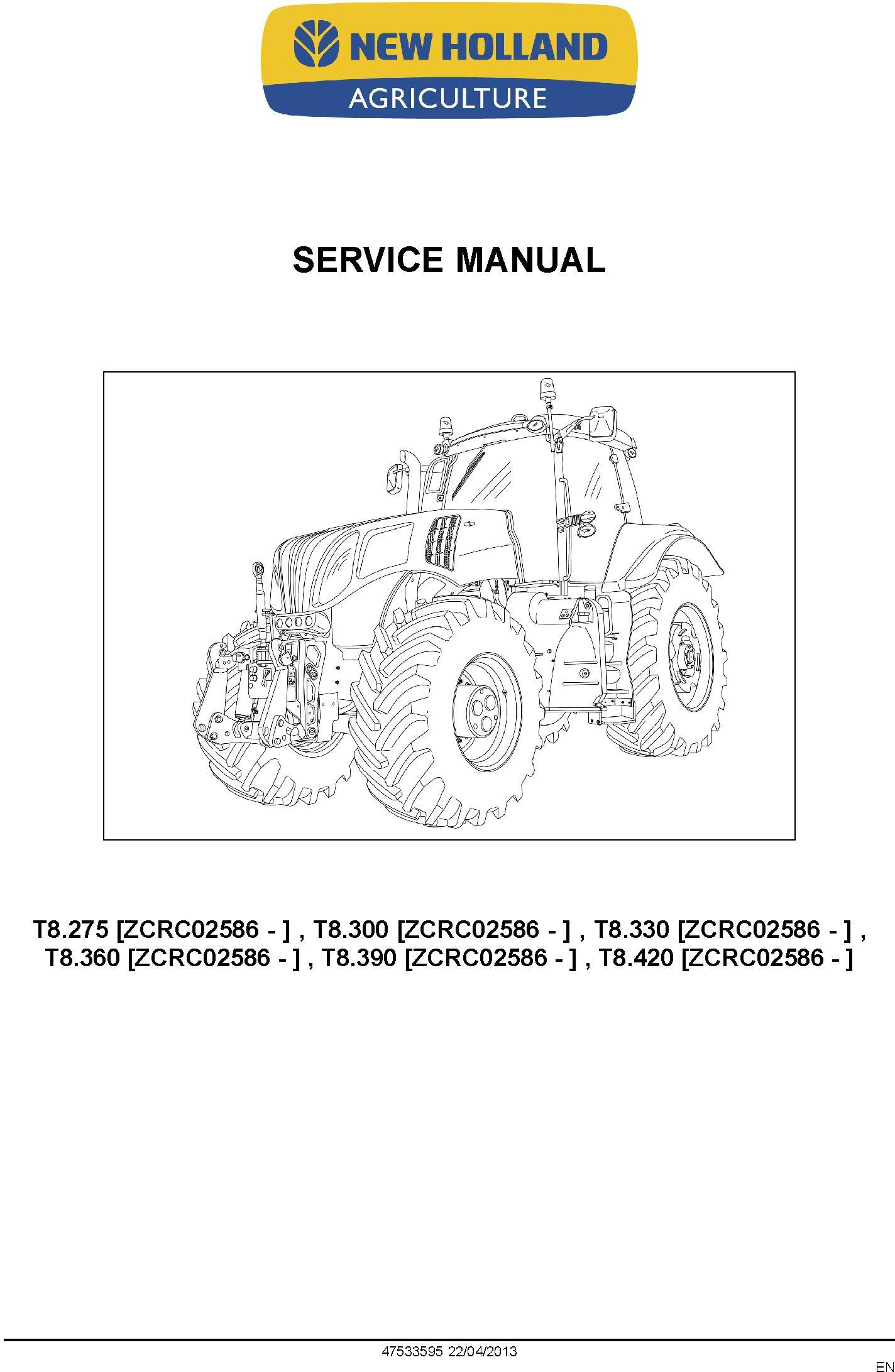 New Holland T8.275, T8.300, T8.330, T8.360, T8.390, T8.420 Tractor w.CVT Transmission Service Manual - 1