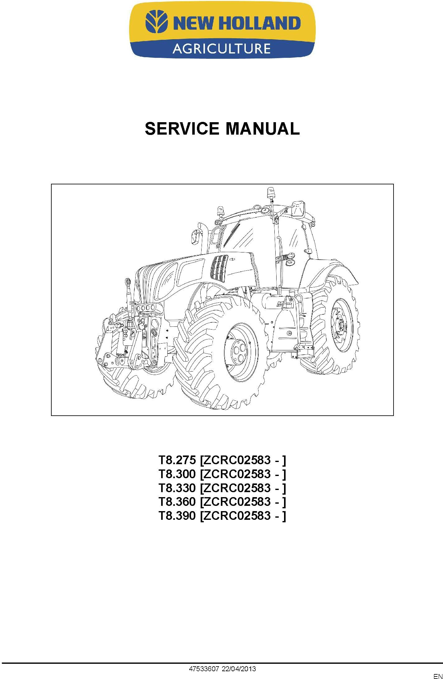 New Holland T8.275, T8.300, T8.330, T8.360, T8.390 (PST) Tractor (PIN ZCRC02583-) Service Manual - 1