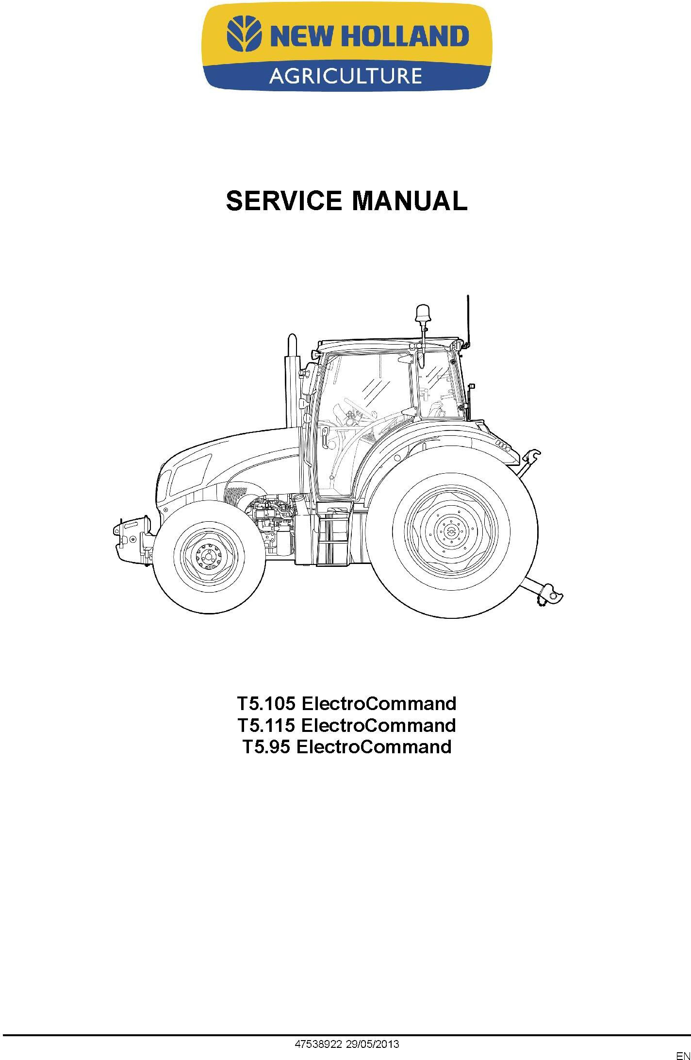 New Holland T5.95, T5.105, T5.115 Electro Command Tractor Service Manual - 1
