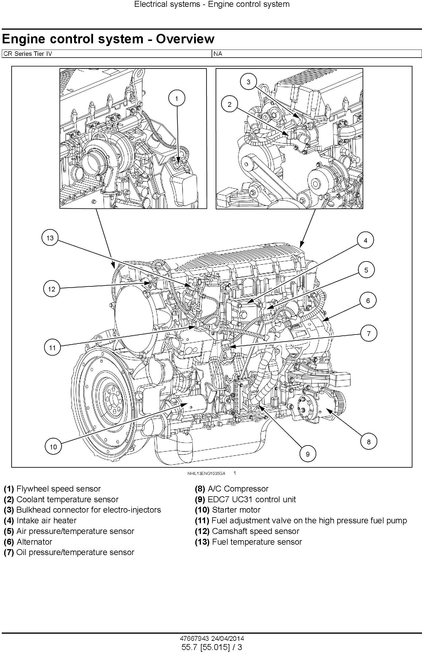 New Holland CR6090, CR7090, CR8080, CR8090, CR9090 Tier4A Combine Complete Service Manual (USA) - 3