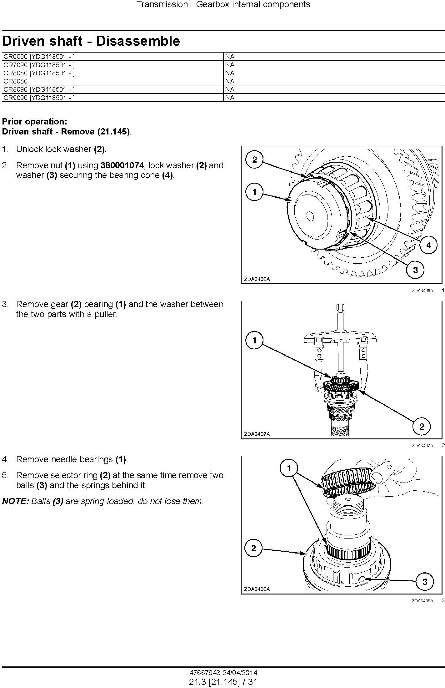 New Holland CR6090, CR7090, CR8080, CR8090, CR9090 Tier4A Combine Complete Service Manual (USA) - 1
