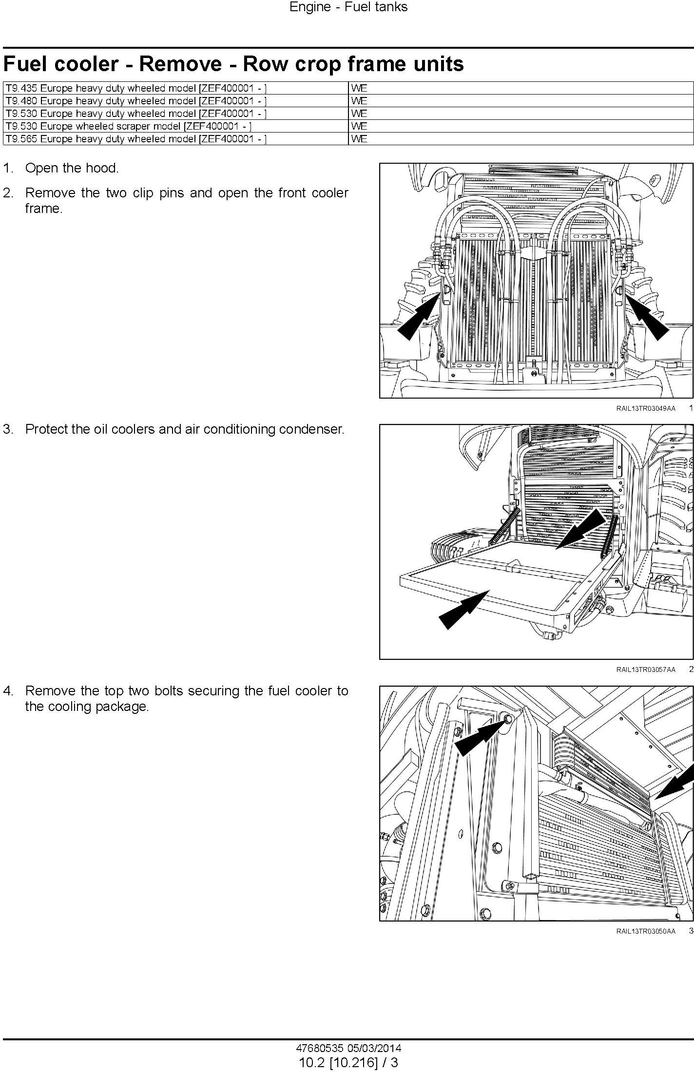 New Holland T9.435, T9.480, T9.530, T9.565, T9.600, T9.645, T9.700 European Tractor Service Manual - 2
