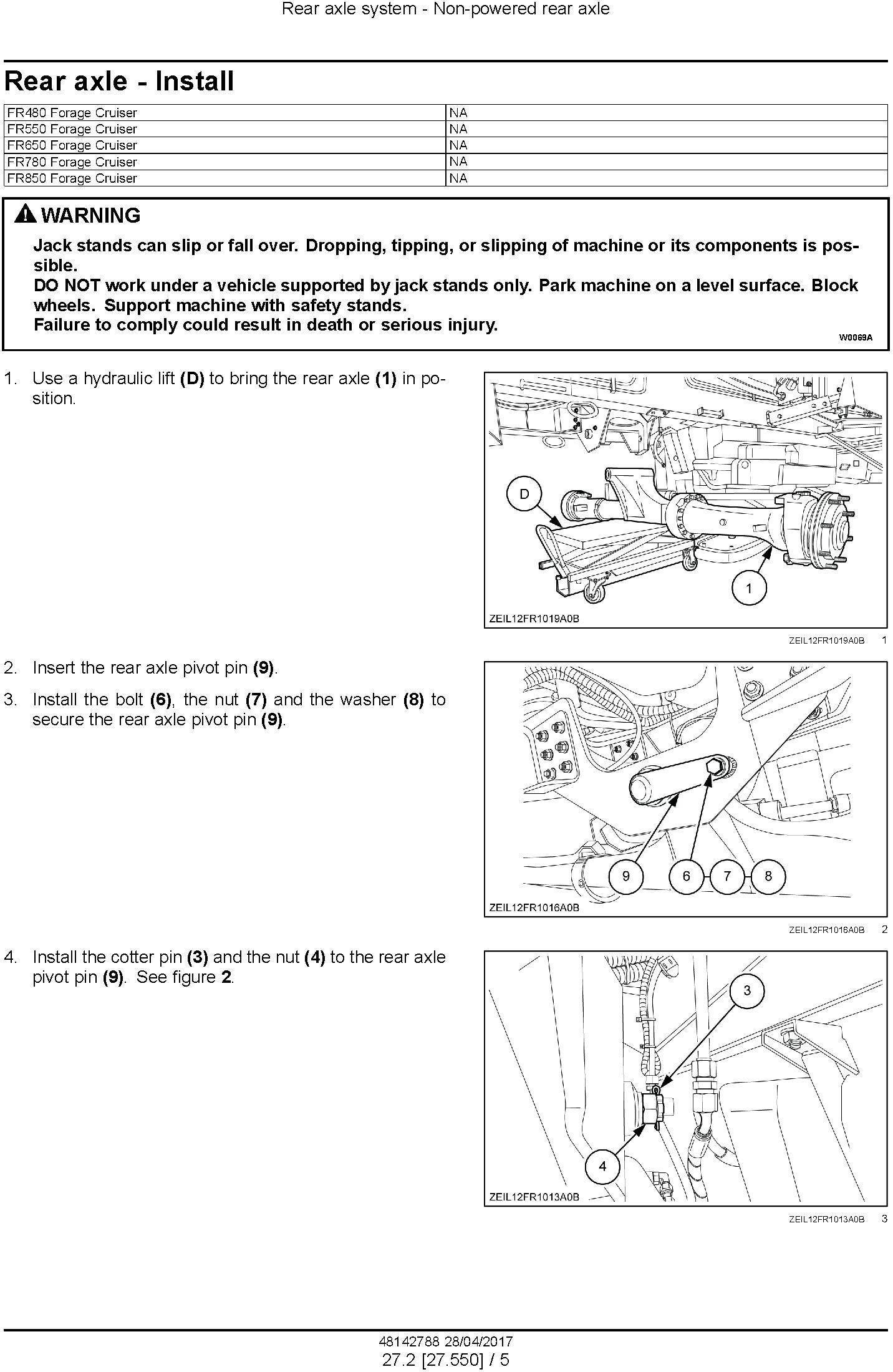New Holland FR480, FR550, FR650, FR780, FR850 Forage Cruiser - Forage Harvester Service Manual (USA) - 1