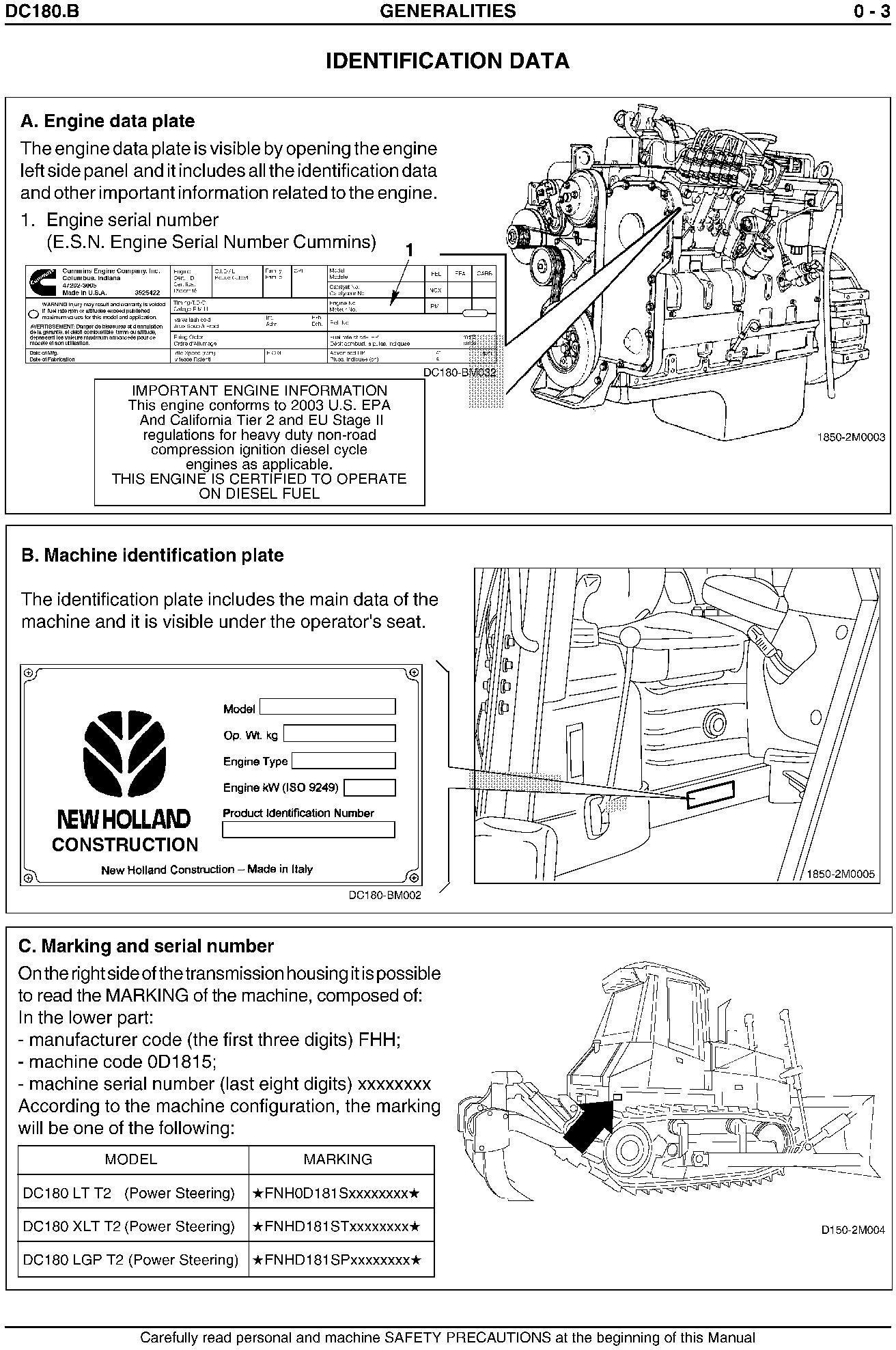 New Holland DC180.B Crawler Dozer Complete Service Manual - 2