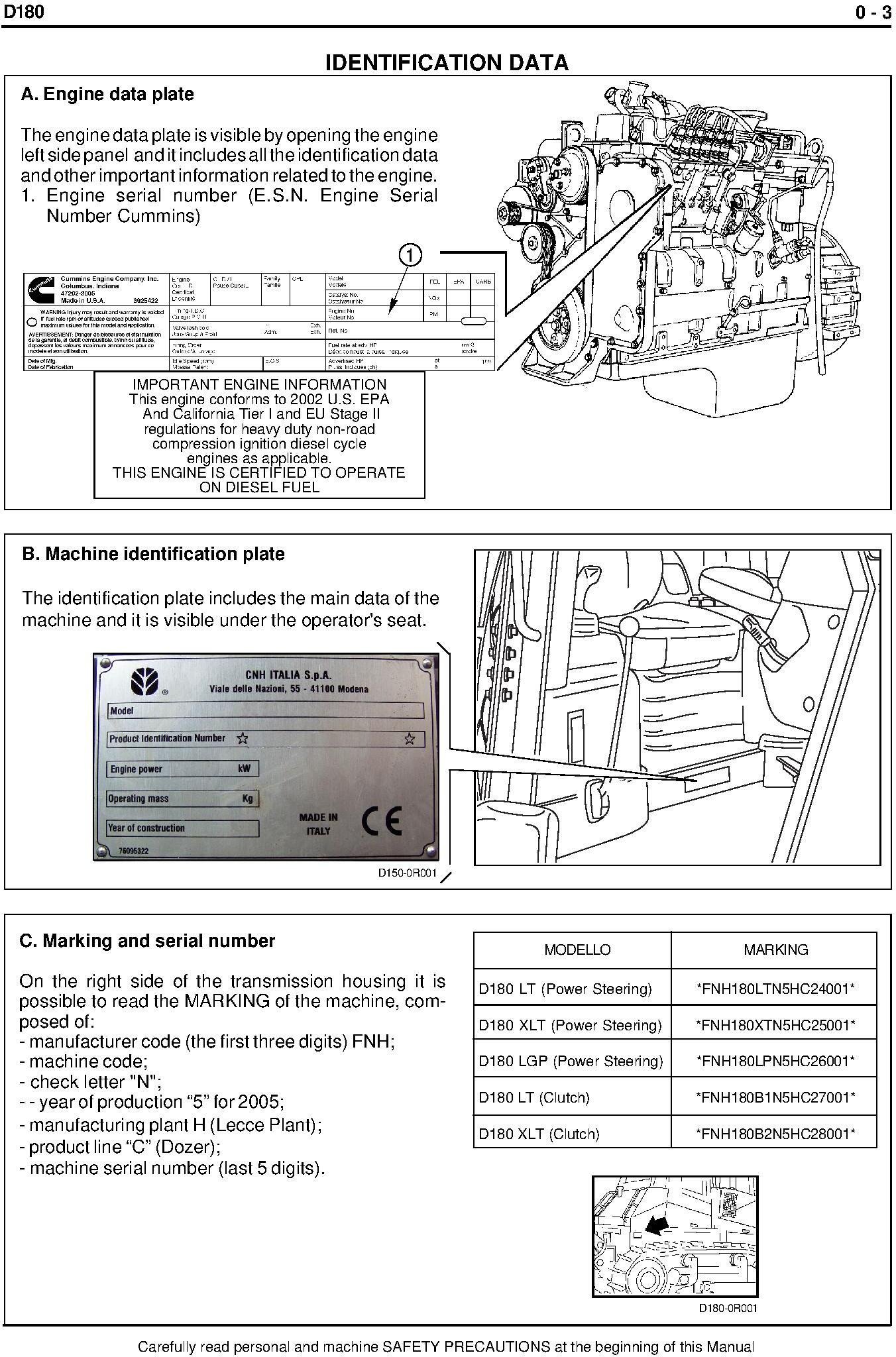 New Holland D180 Crawler Dozer Service Manual - 1