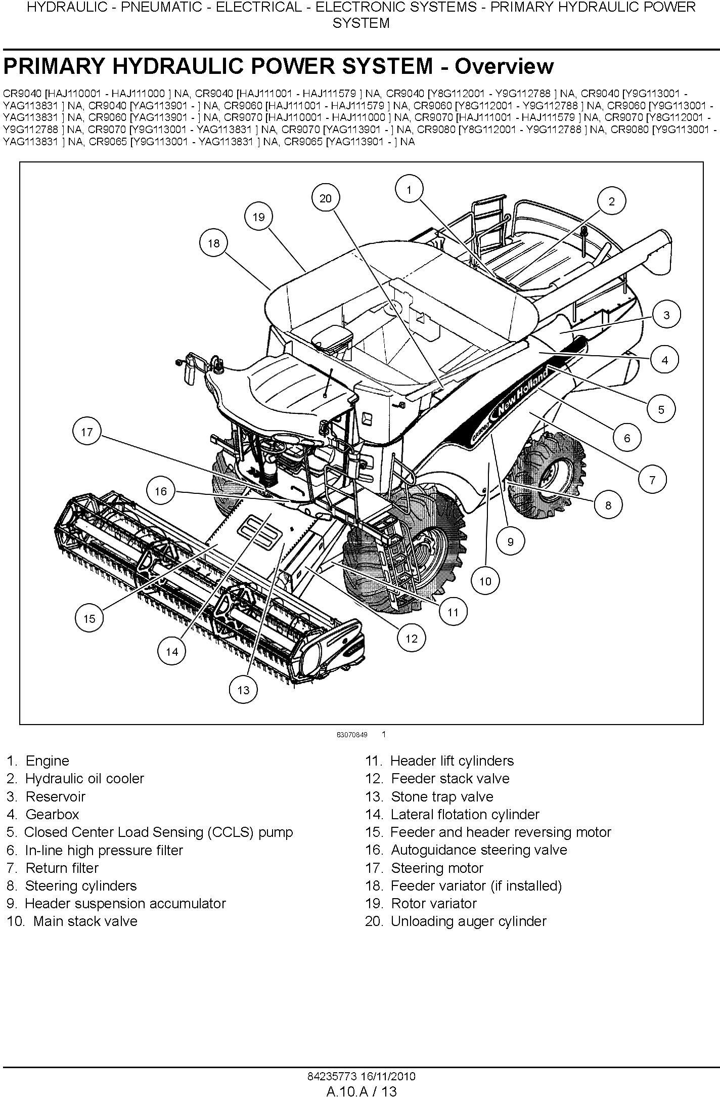 New Holland CR9040, CR9060, CR9065, CR9070, CR9080 Combine (SN. HAJ110001 & Up) Service Manual - 1