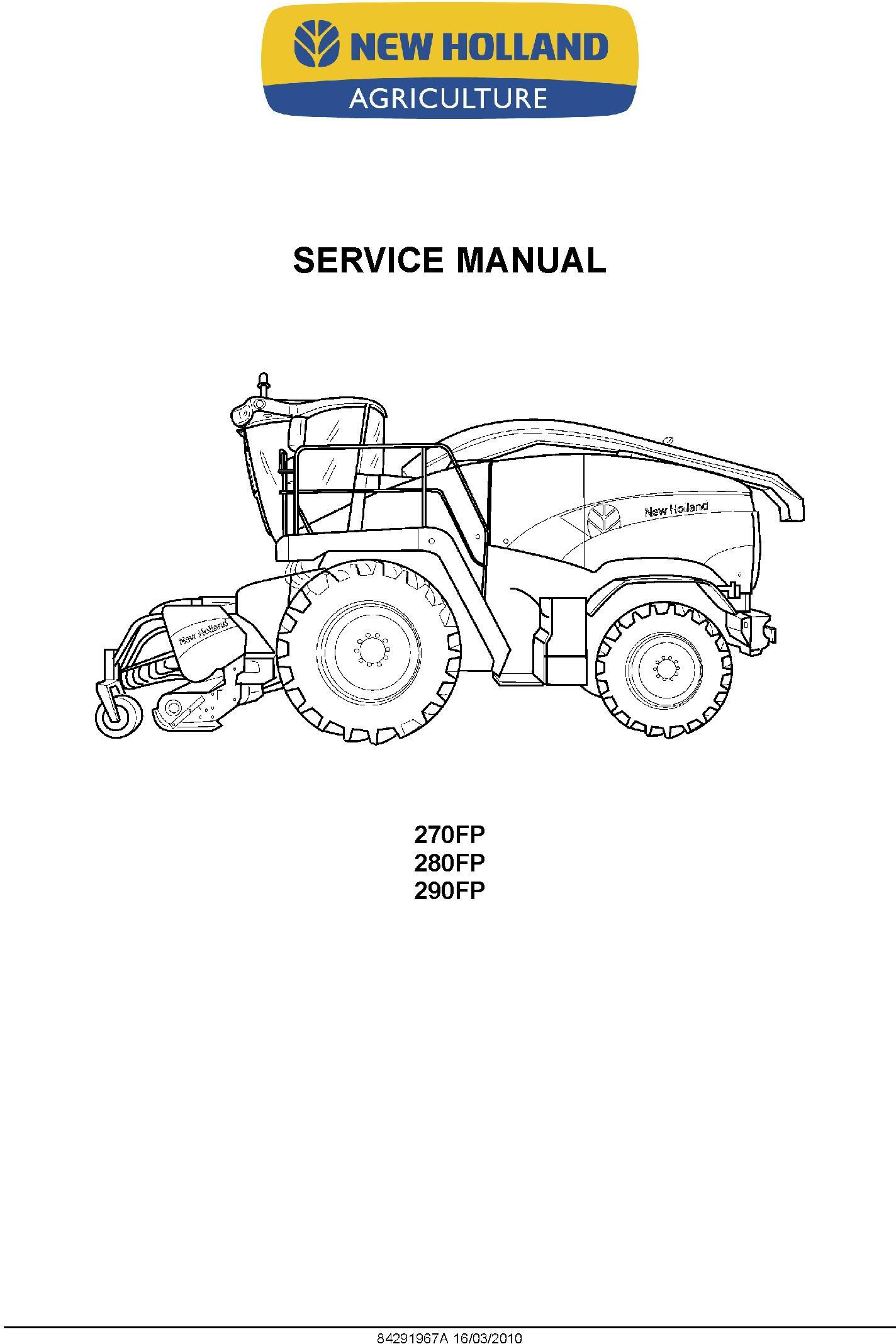 New Holland 270FP, 280FP, 290FP Self Propelled Forage Pickup Headers Service Manual - 1
