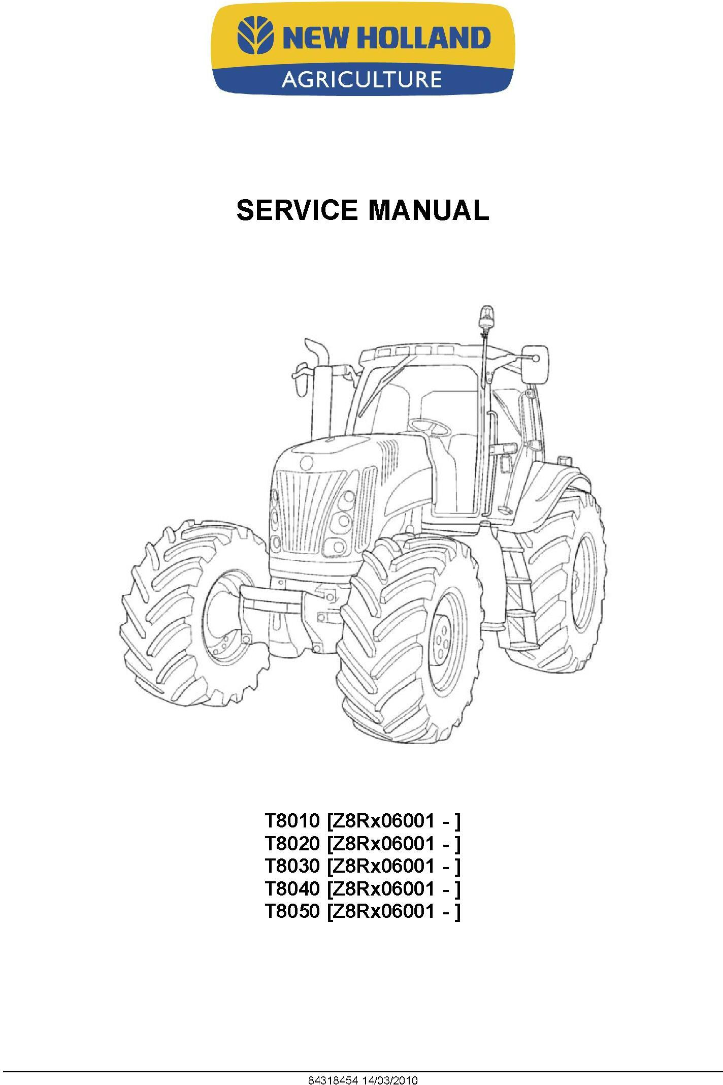 New Holland T8010, T8020, T8030, T8040, T8050 Agricultural Tractor Service Manual - 1