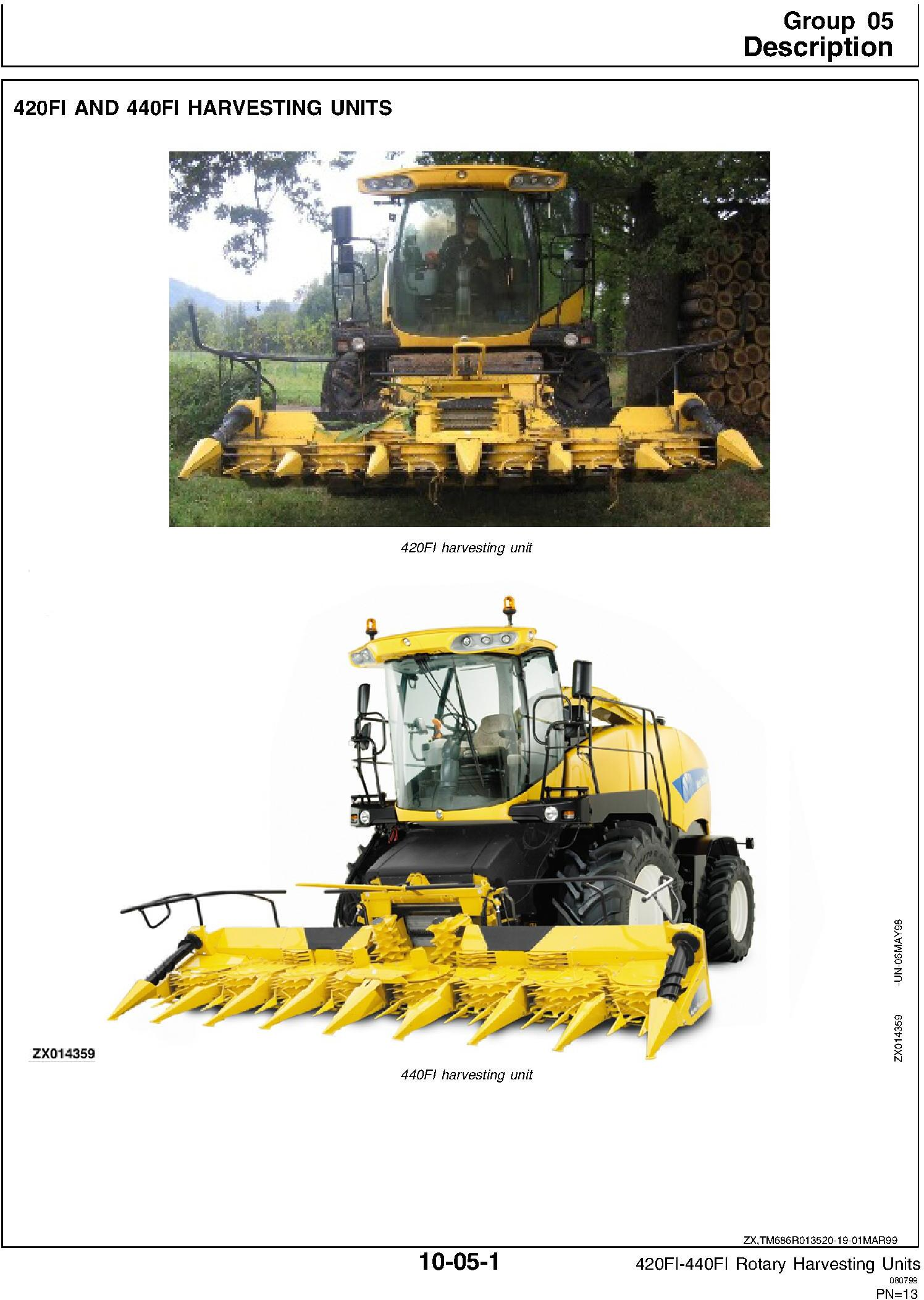 New Holland 420FI, 440FI Rotary Harvesting Headers Service Manual - 1