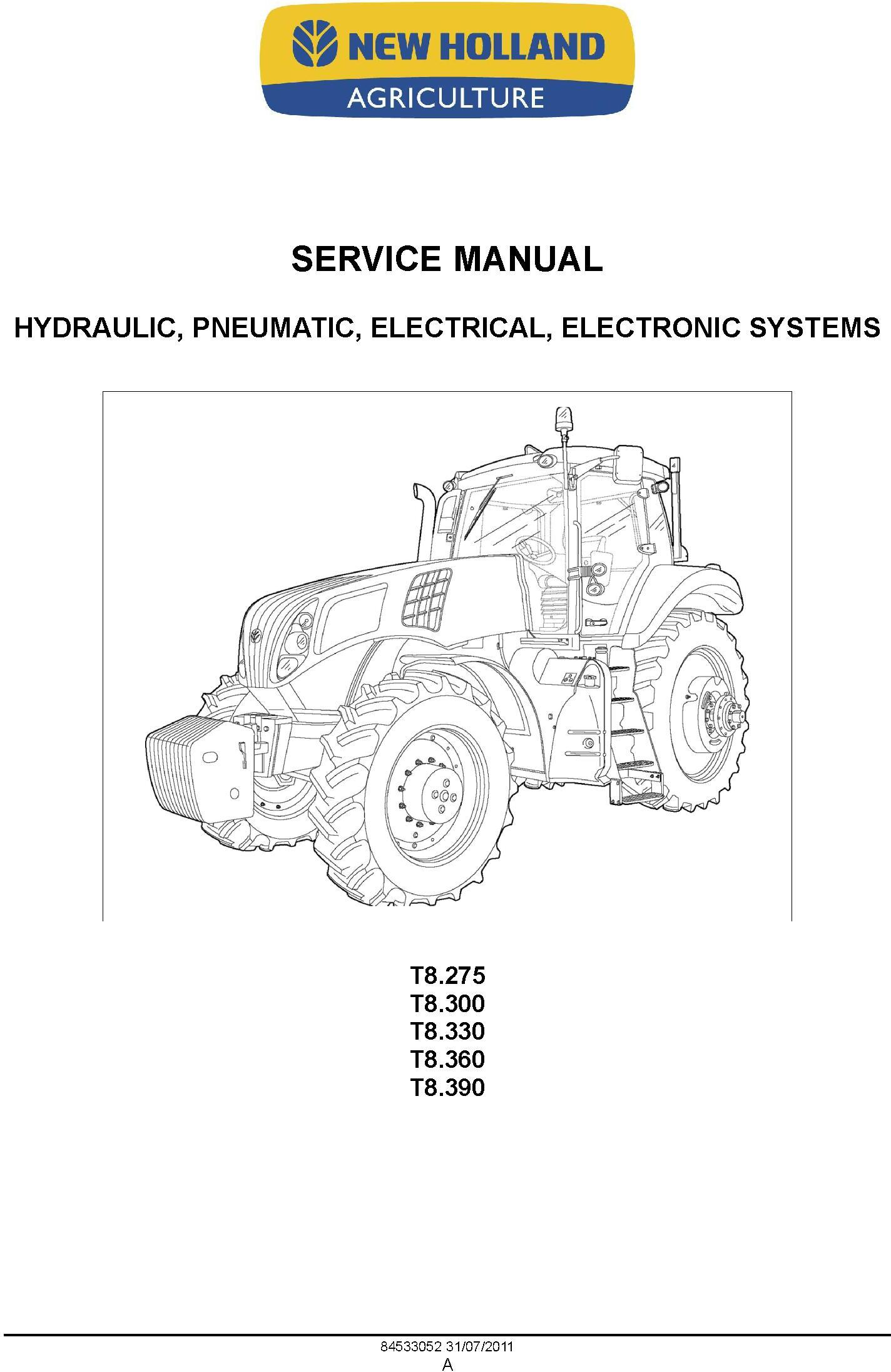 New Holland T8.275, T8.300, T8.330, T8.360, T8.390 Tractor Service Manual - 1