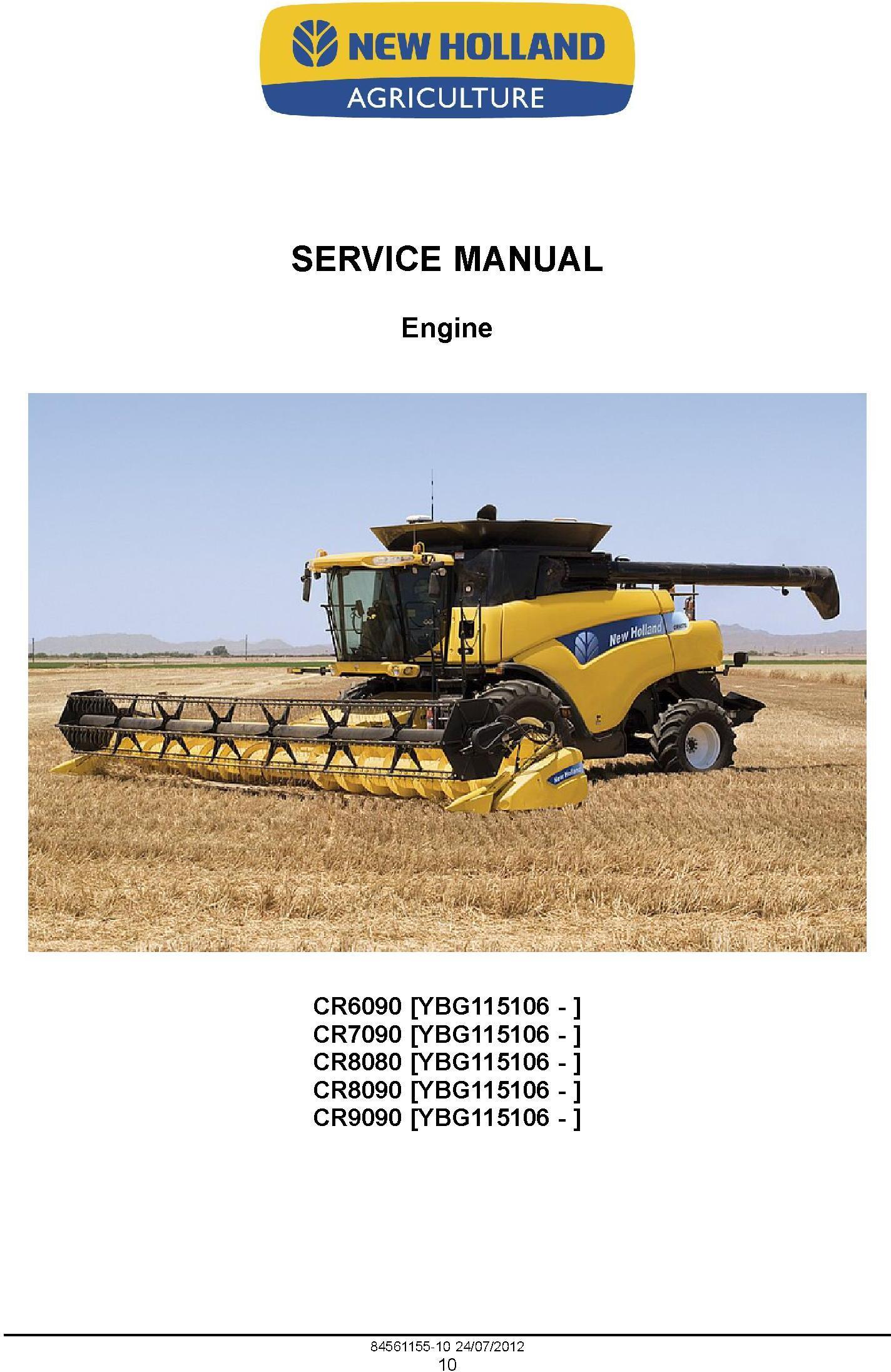 New Holland CR6090, CR7090, CR8080, CR8090, CR9090 Tier 4A Combine Service Manual - 1