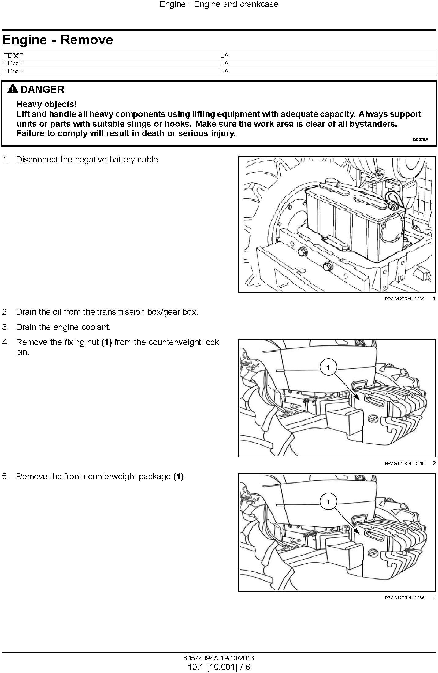 New Holland TD65F, TD75F, TD85F Tractor Service Manual - 1