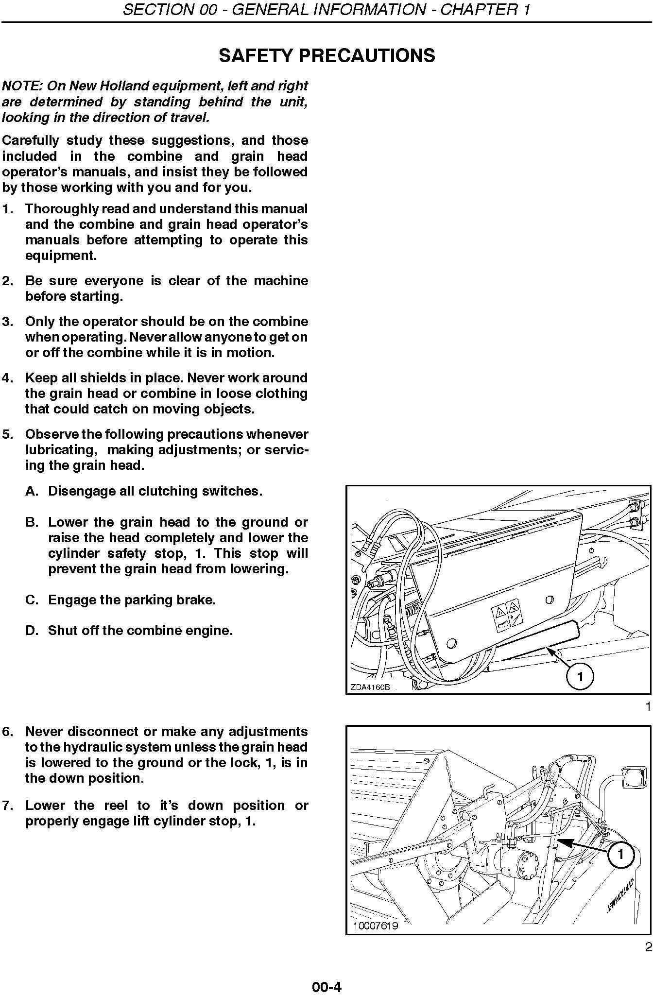 New Holland 72c, 74c Grain Head Service Manual - 1