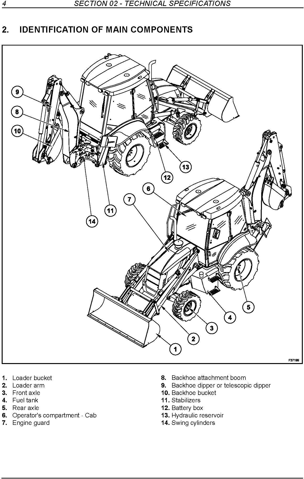 New Holland B90B, B95B, B95BLR, B95BTC, B110B, B115B Tier 3 Backhoe Loader Service Manual - 1