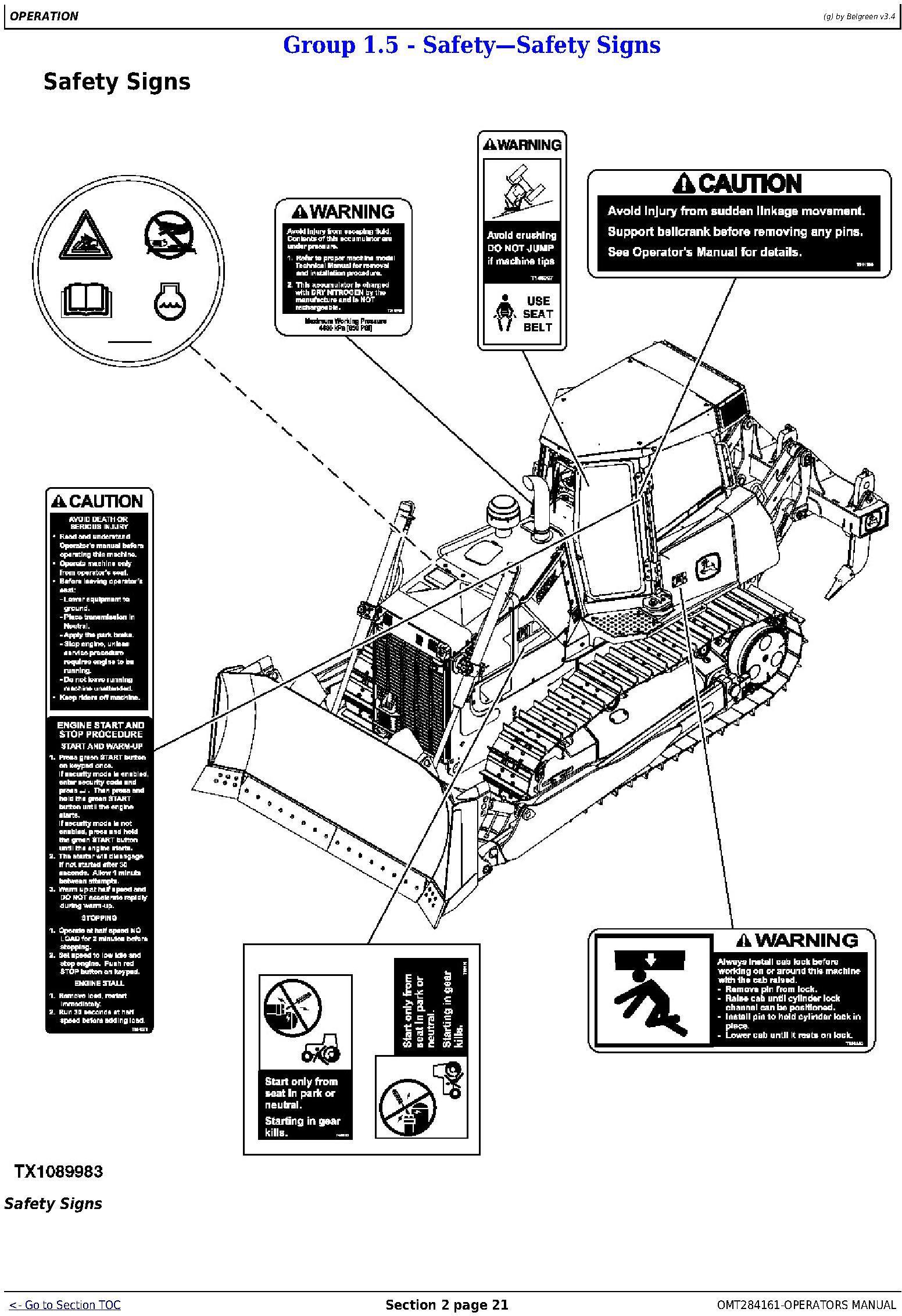 OMT284161 - John Deere 850K Crawler Dozer (PIN: 1T0850KX_ _E178122-271265 ) Operators Manual - 1