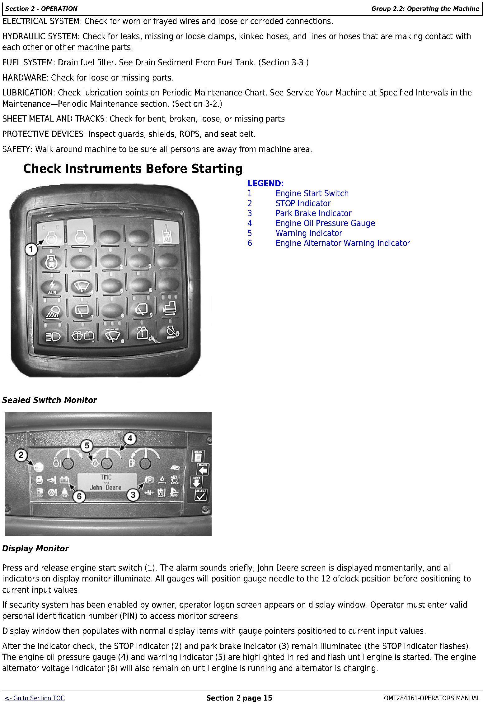 OMT284161 - John Deere 850K Crawler Dozer (PIN: 1T0850KX_ _E178122-271265 ) Operators Manual - 2