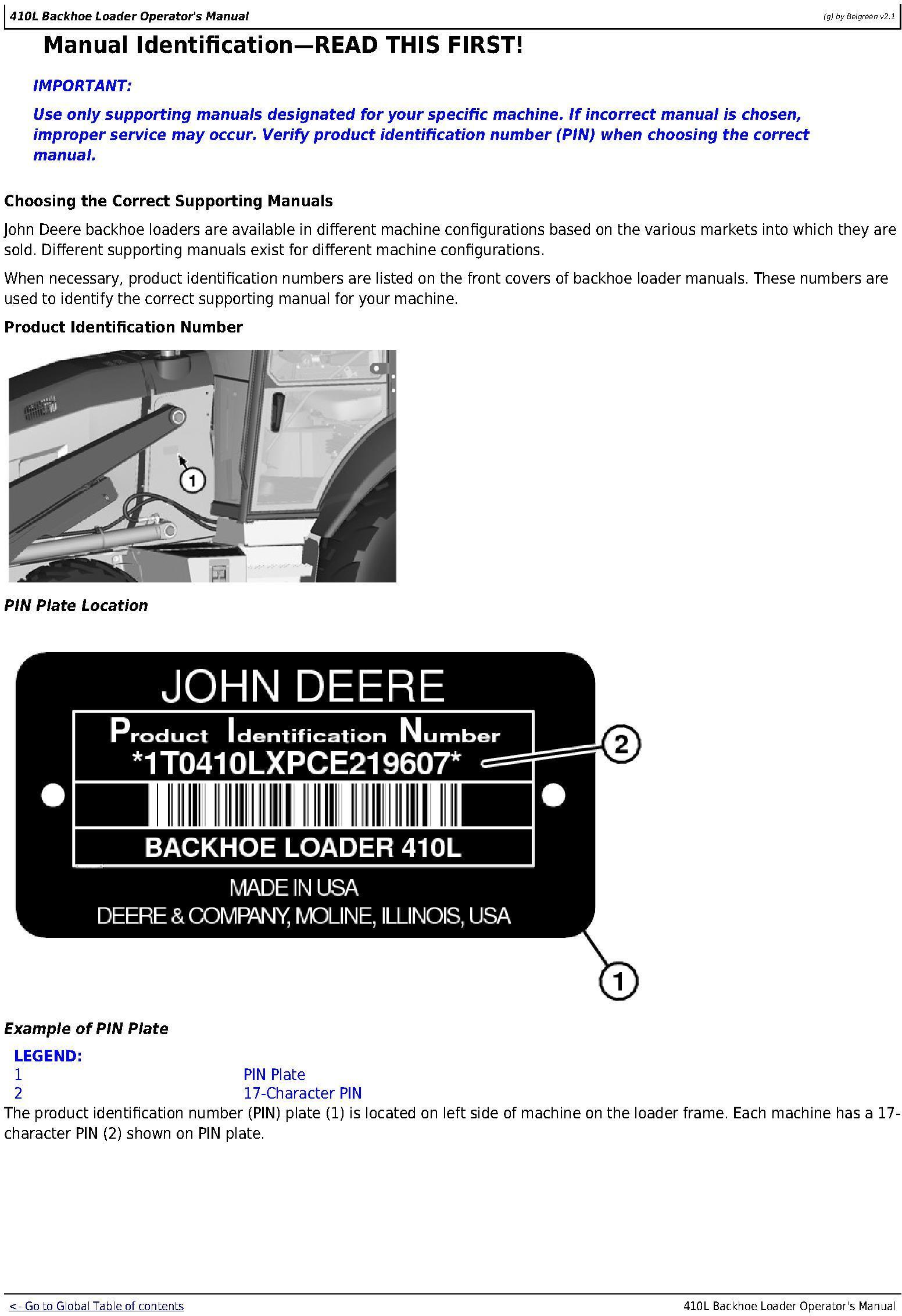 OMT357556X19 - JD John Deere 410L Backhoe Loader Operators Manual (sn. C273920-; D273920-) - 1