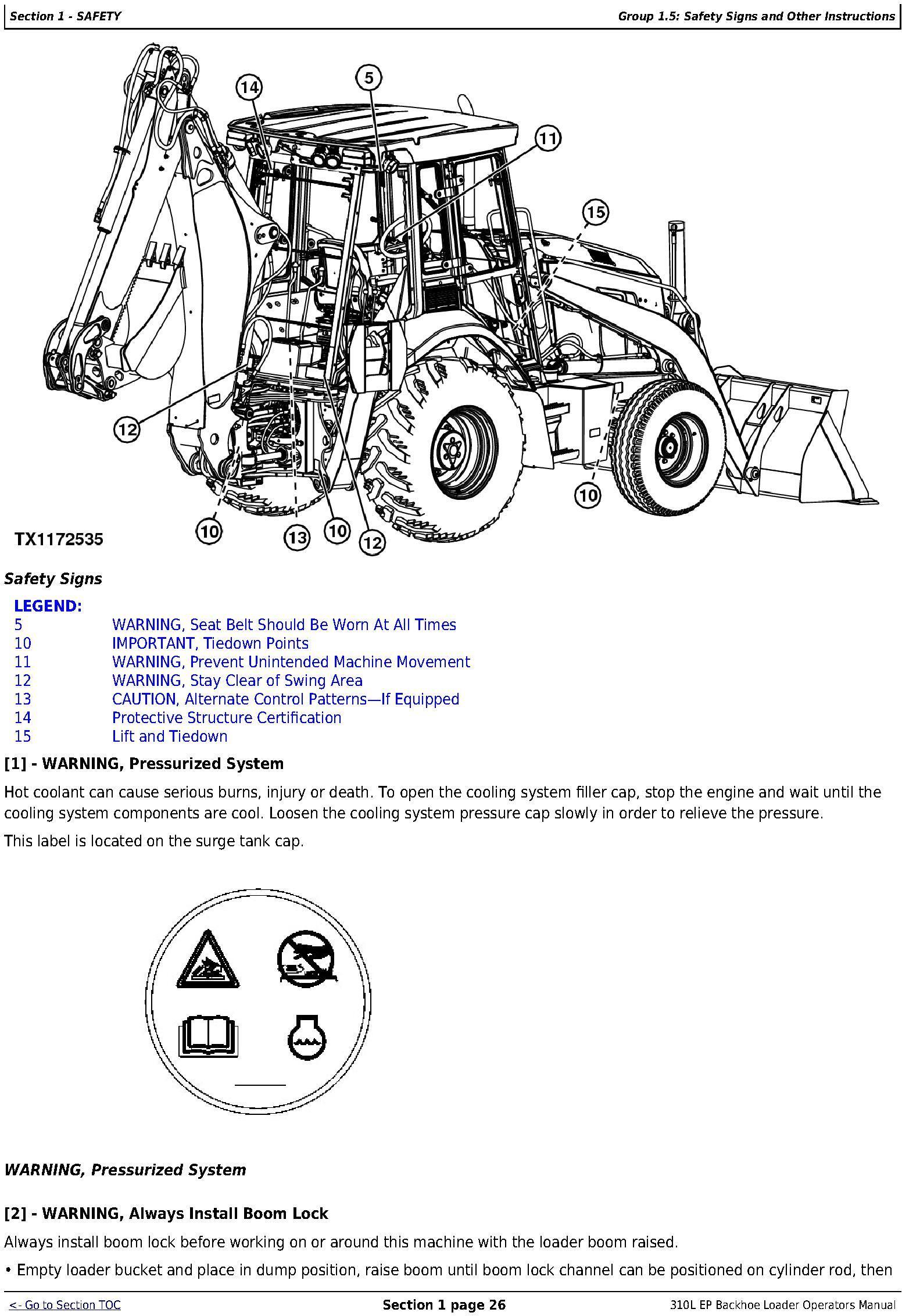 OMT357606X19 - John Deere 310SL Backhoe Loader (PIN:1T0310SL**F273920-) Diagnostic&Test Service Manual (TM13297X19) - 1