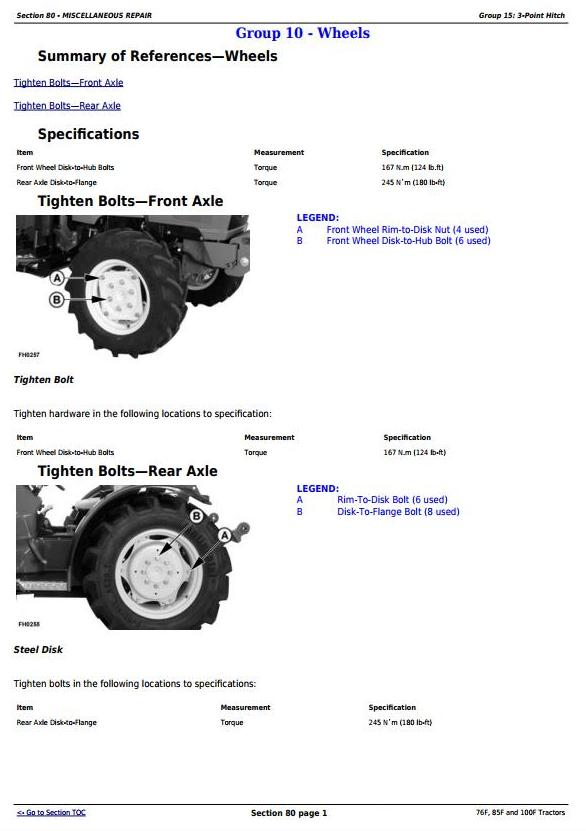 TM103319 - John Deere 76F, 85F and 100F Specialty Tractors Diagnostic and Repair Technical Manual - 1