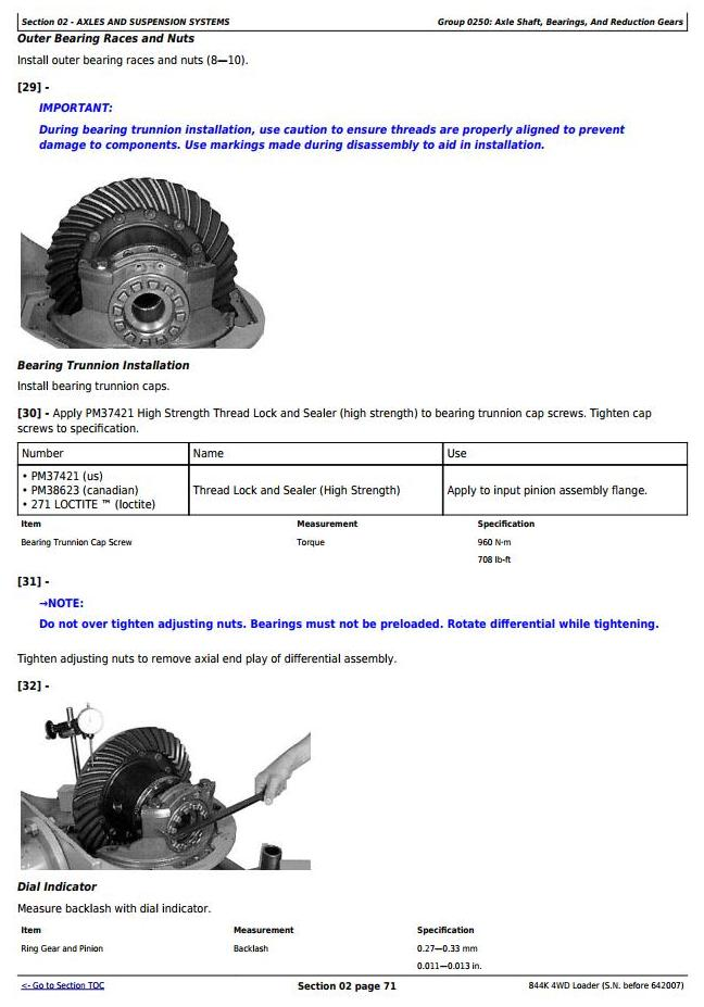 TM10701 - John Deere 844K 4WD Loader (SN. before 642007) Service Repair Technical Manual - 2