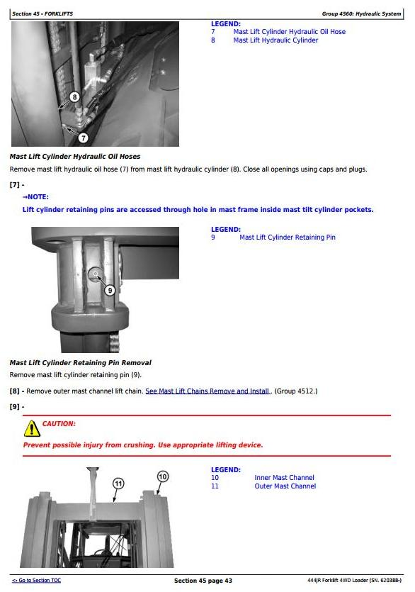 TM11203 - John Deere 444JR Forklift 4WD Loader (SN. 620388-) Service Repair Technical Manual - 2