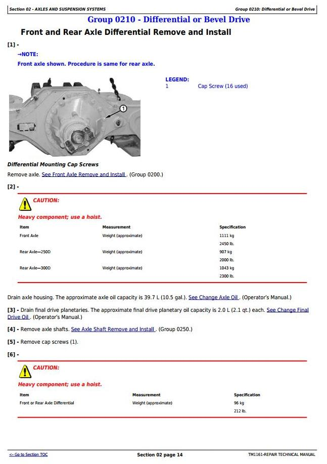 TM1161 - John Deere 250D, 300D Truck Articulated Dump 609166-XXXXXX Repair Technical Manual - 1