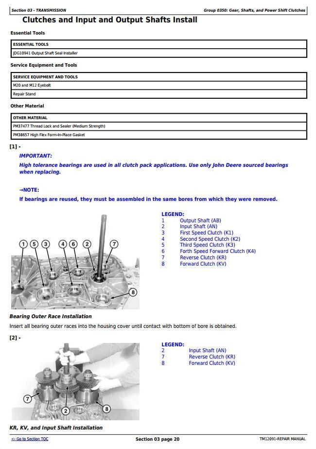 TM12091 - John Deere 444K 4WD Loader (SN.642101-670307) w.Engine 4045HDW56 (iT4) Service Repair Manual - 2