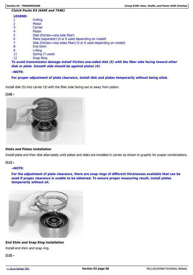 TM12103 - John Deere 624K 4WD Loader (SN.E642635-658064) w.Engine 6068HDW78 Service Repair Manual - 2