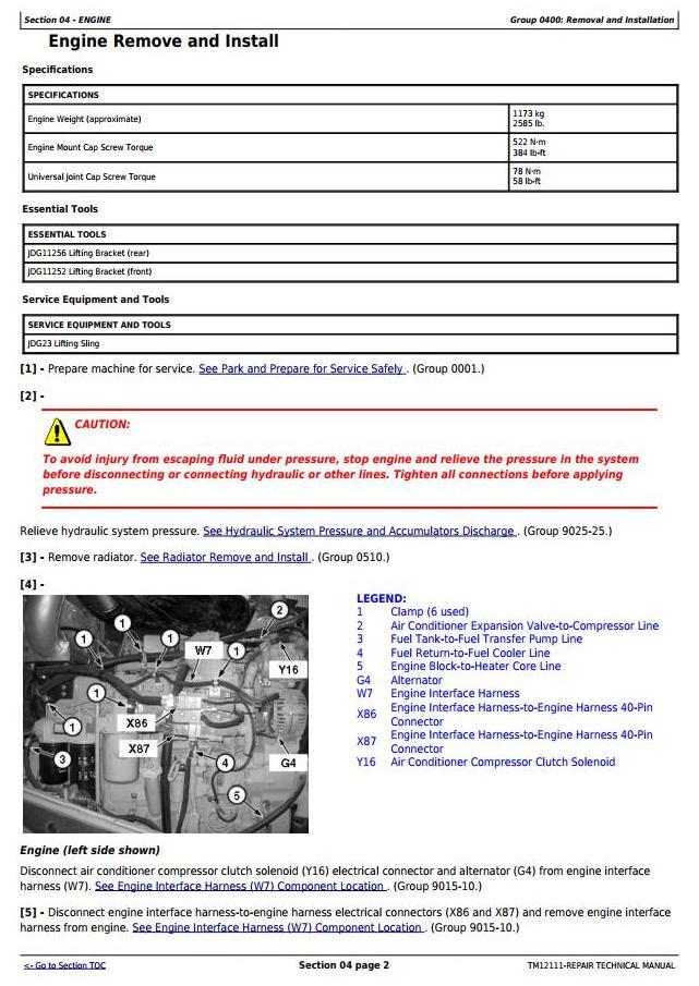 TM12111 - John Deere 724K Loader (SN. E634315-658064) w.Engine 6090HDW13 Service Repair Tech. Manual - 2