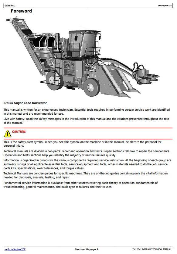 TM123419 - John Deere / Thibodaux CH330 Sugar Cane Harvester (SN.121901-) Repair Service Manual - 3