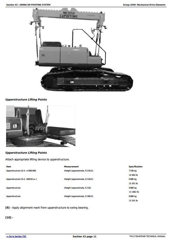 TM12735 - John Deere E210, E210LC and E230LC (T2/S2) Excavator Service Repair Technical Manual - 1