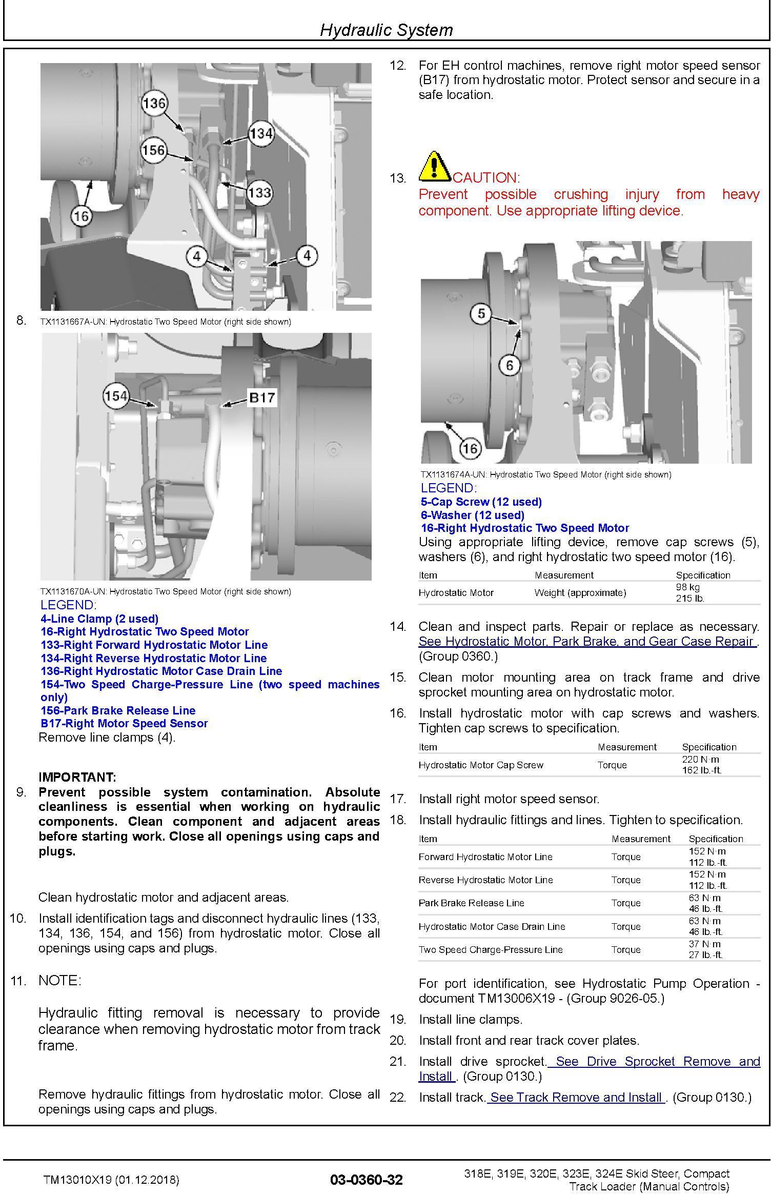 TM13010X19 - John Deere 318E, 319E, 320E, 323E, 324E Compact Loader w.Manual Controls Repair Manual - 3