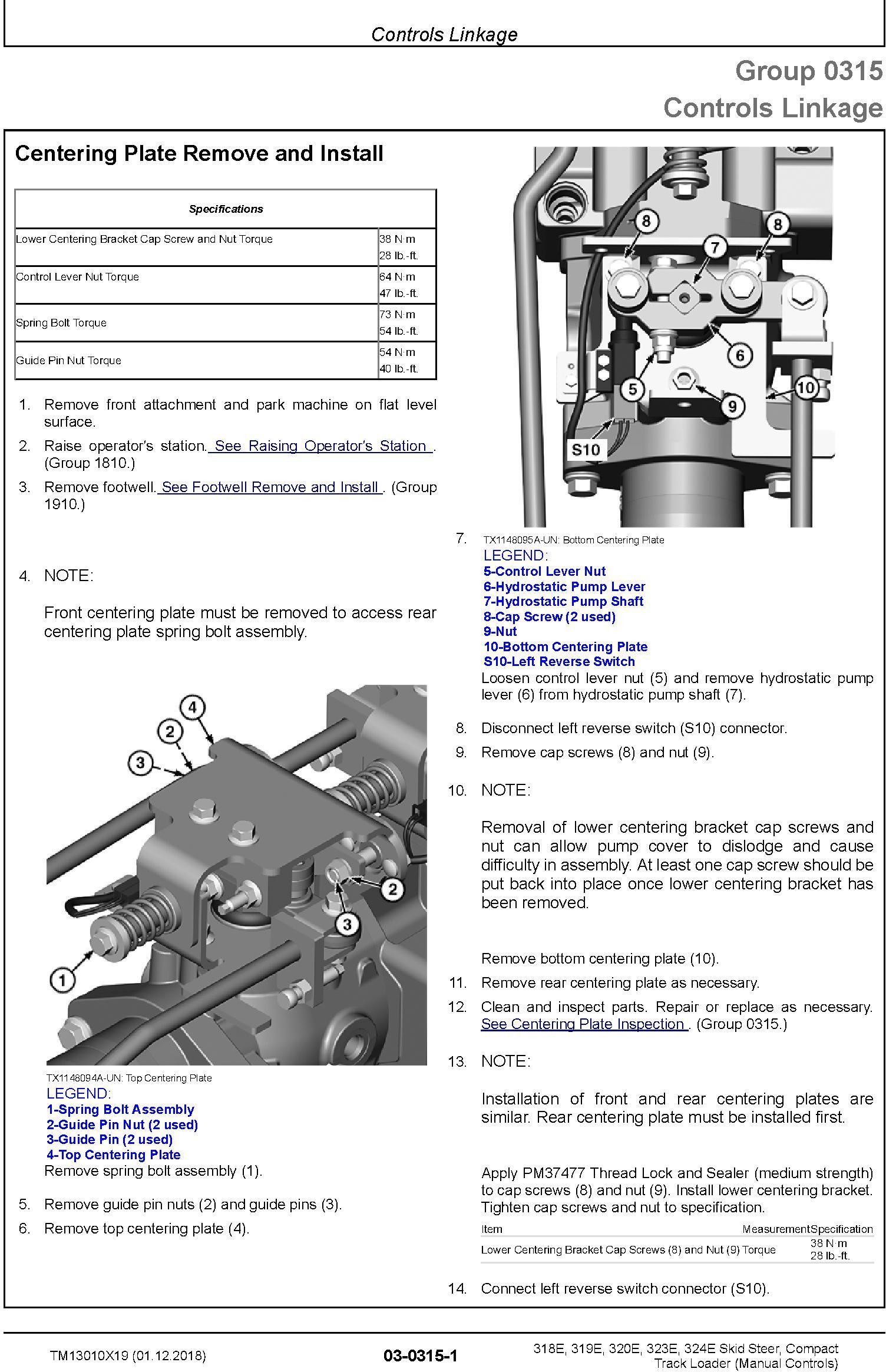 TM13010X19 - John Deere 318E, 319E, 320E, 323E, 324E Compact Loader w.Manual Controls Repair Manual - 2