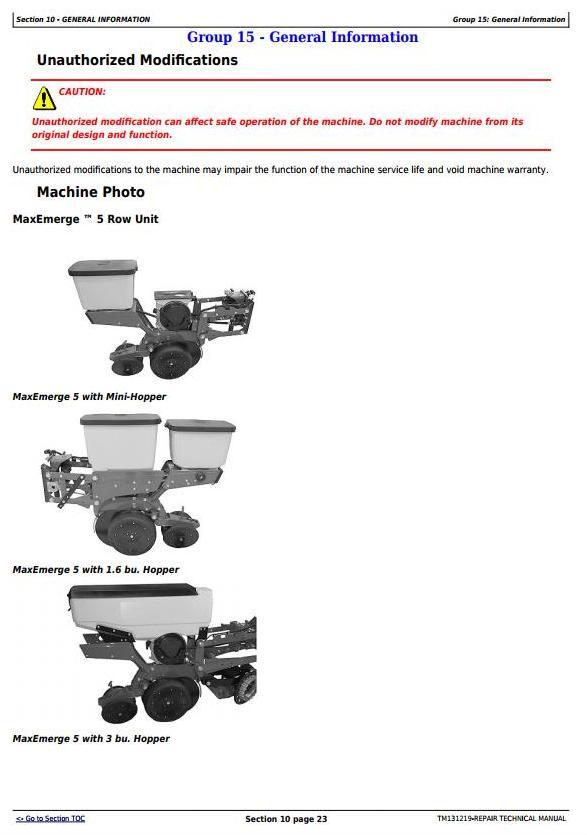 TM131219 - John Deere MaxEmerge 5 & ExactEmerge Row Unit Service Repair Manual - 3
