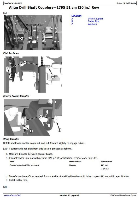 TM131319 - John Deere 1705, 1715, 1725, 1735, 1755, 1765, 1775, 1785, 1795 Planter Frame Repair Manual - 1