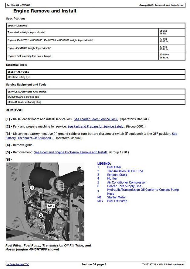 TM13290X19 - John Deere 310L EP Backhoe Loader (S.N.273920-329327) Service Repair Technical Manual - 1