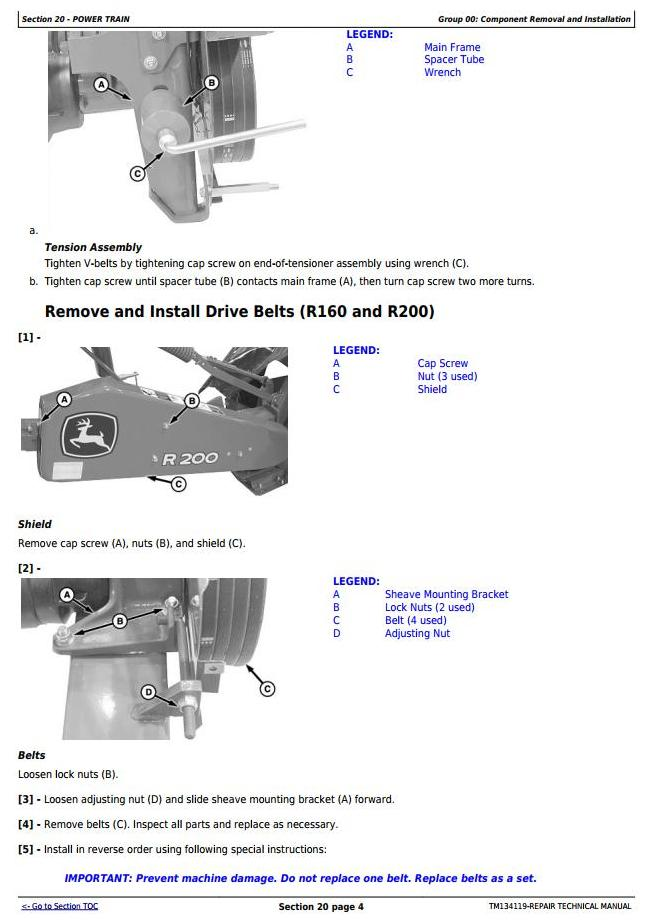 TM134119 - John Deere R160, R200, R240, R280, R310 Hay&Forage Rotary Disk Mower Technnical Service Manual - 1