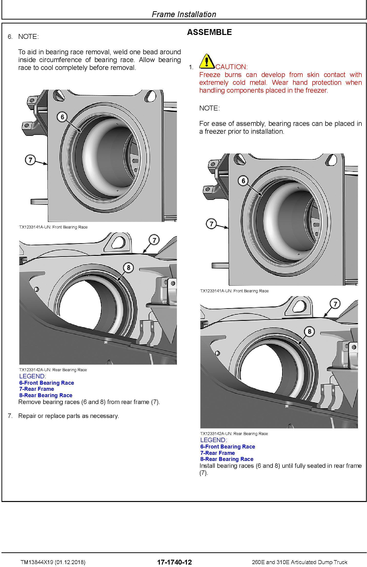 John Deere 260E, 310E Articulated Dump Truck (SN. D677827-) Repair Technical Manual (TM13844X19) - 2