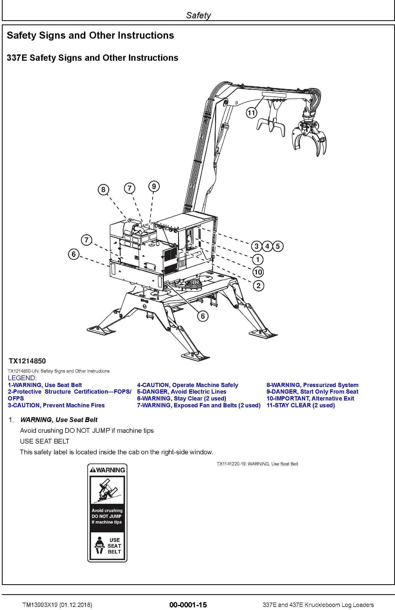 John Deere 337E, 437E (SN.F291461-) Knuckleboom Log Loaders Repair Manual (TM13993X19) - 1