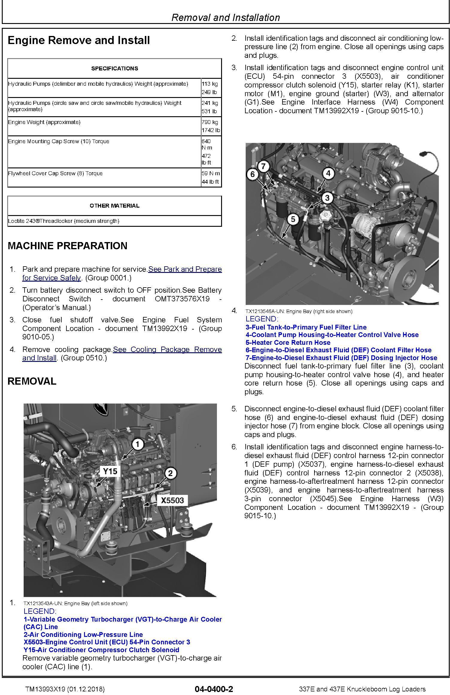 John Deere 337E, 437E (SN.F291461-) Knuckleboom Log Loaders Repair Manual (TM13993X19) - 2