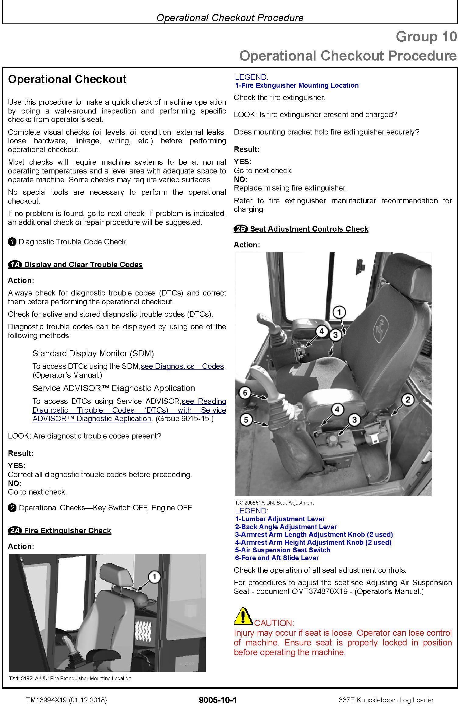 John Deere 337E (SN. C306736-) Knuckleboom Log Loader Operation & Test Technical Manual (TM13994X19) - 2