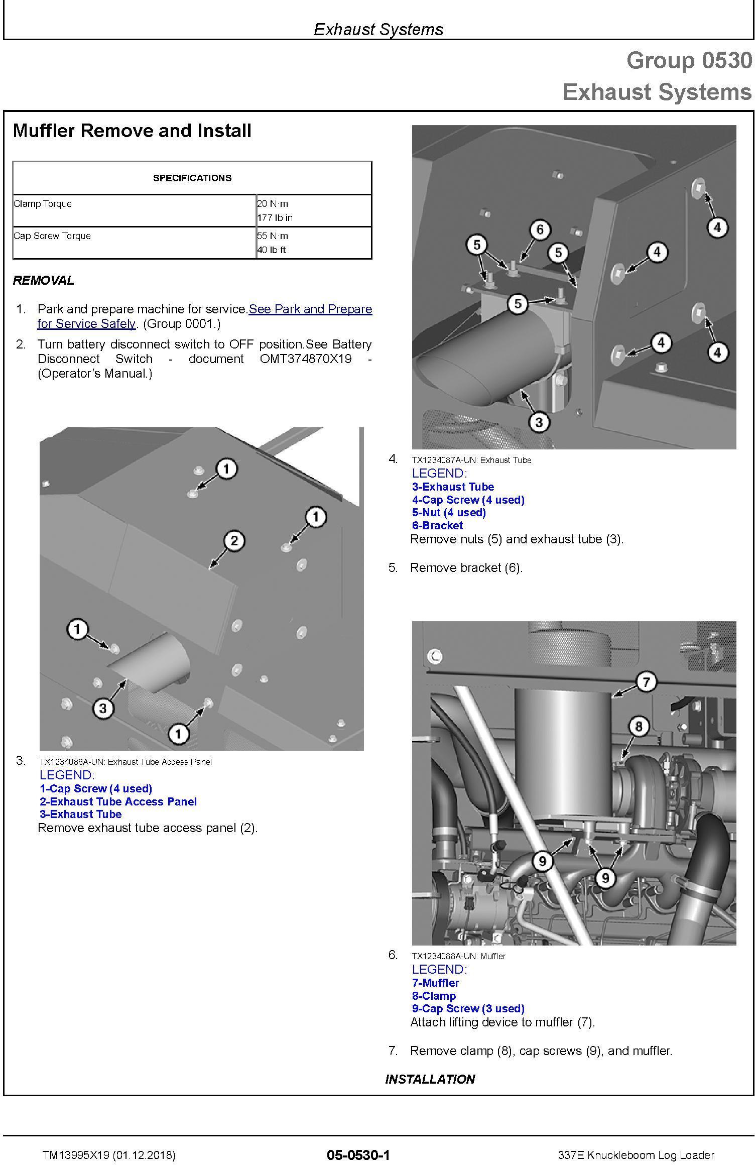 John Deere 337E (SN. C306736-) Knuckleboom Log Loader Repair Manual (TM13995X19) - 2