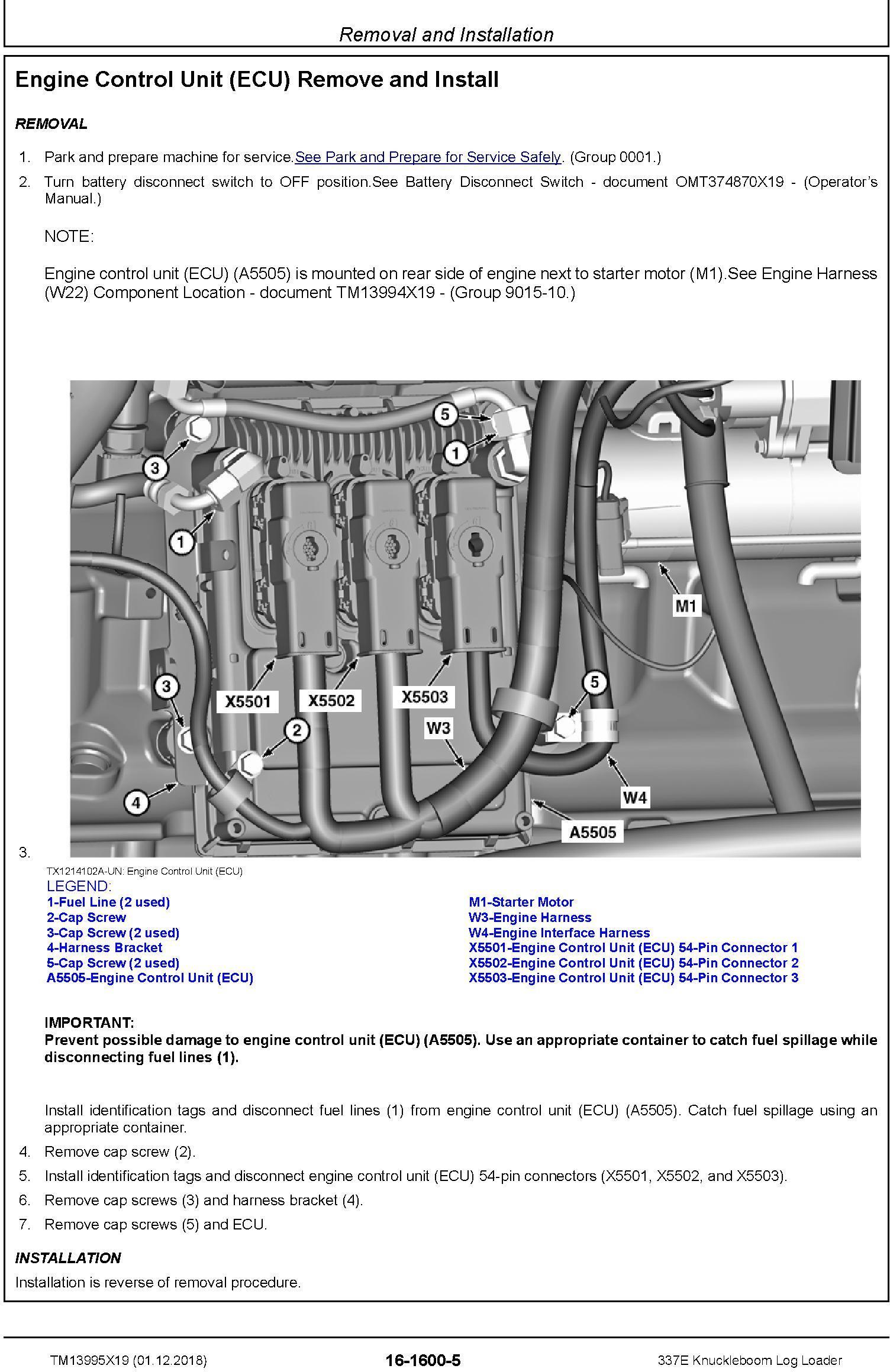 John Deere 337E (SN. C306736-) Knuckleboom Log Loader Repair Manual (TM13995X19) - 3
