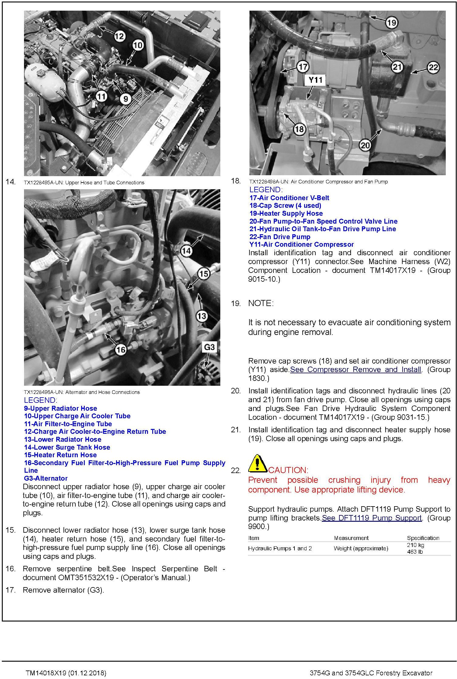 John Deere 3754G, 3754GLC (SN .D371001-) Forestry Excavator Repair Technical Manual (TM14018X19) - 3