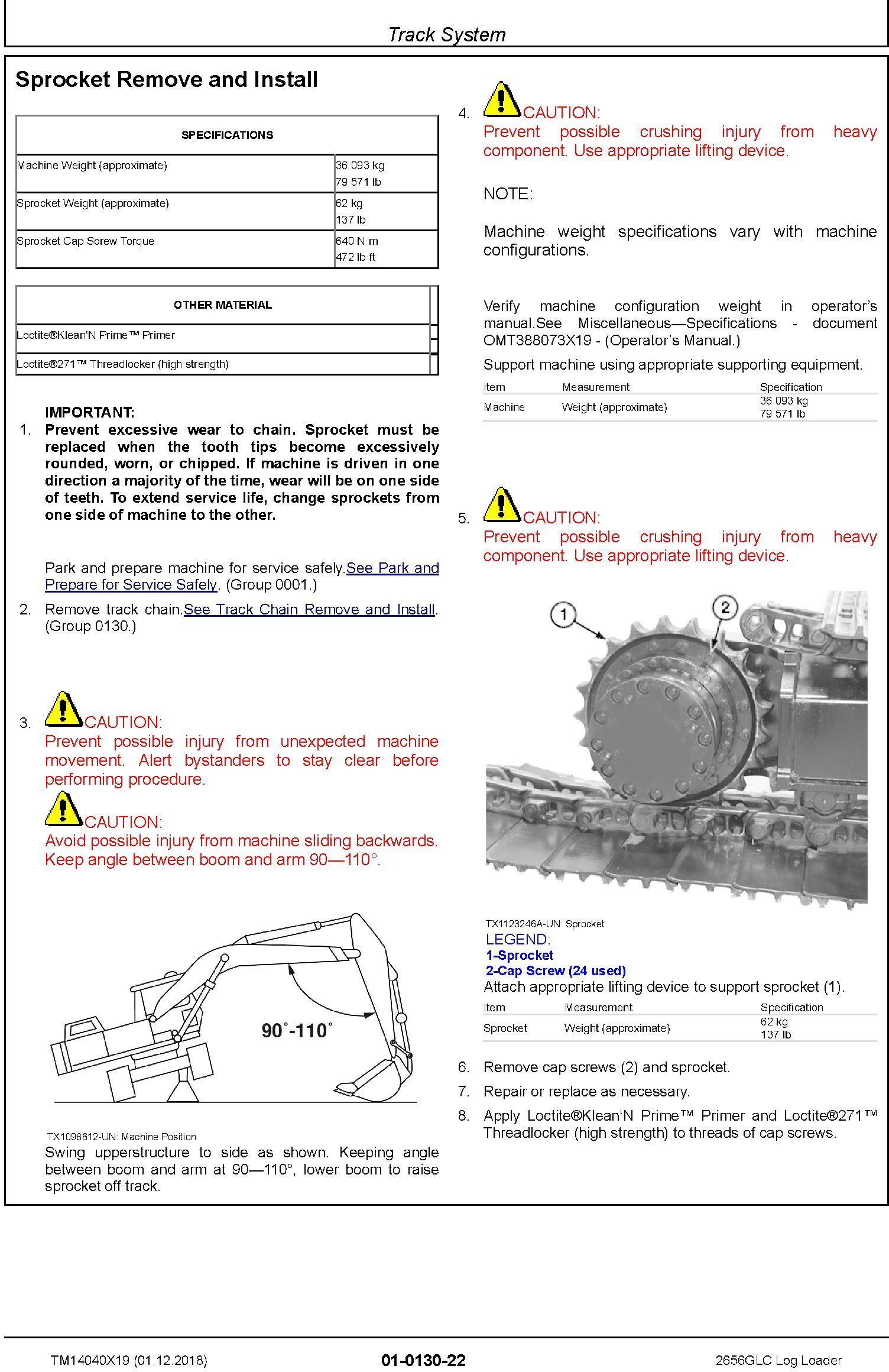 John Deere 2656GLC (SN. C266001-, D266001) Log Loader Repair Technical Service Manual (TM14040X19) - 2