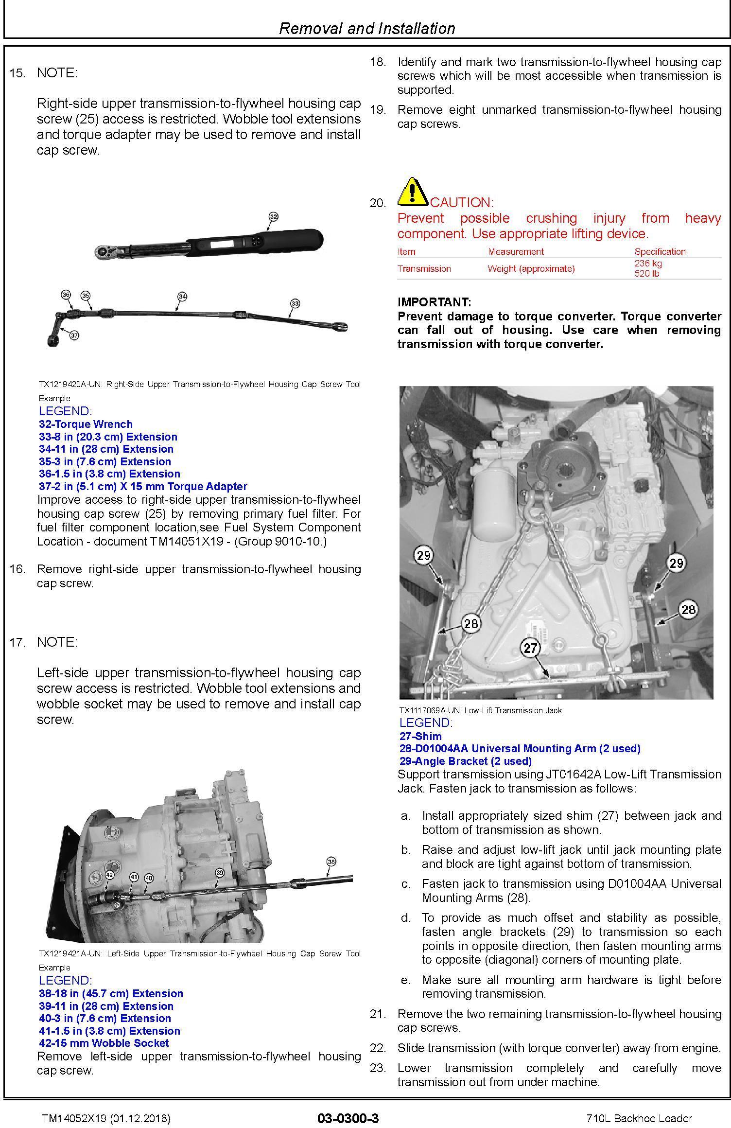 John Deere 710L (SN. from F294268) Backhoe Loader Service Repair Technical Manual (TM14052X19) - 2